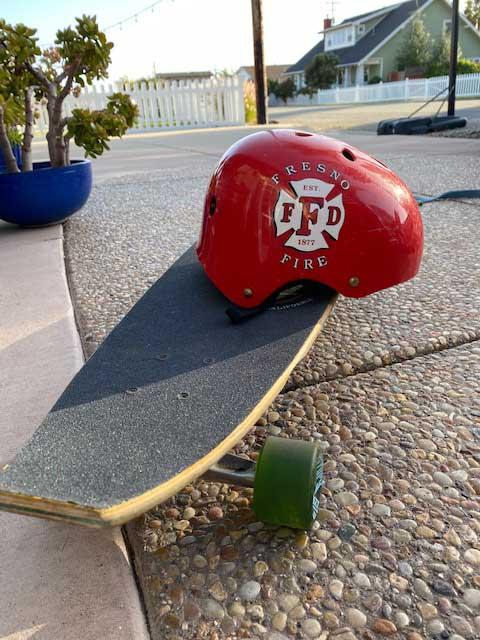 Helmet and a skateboard